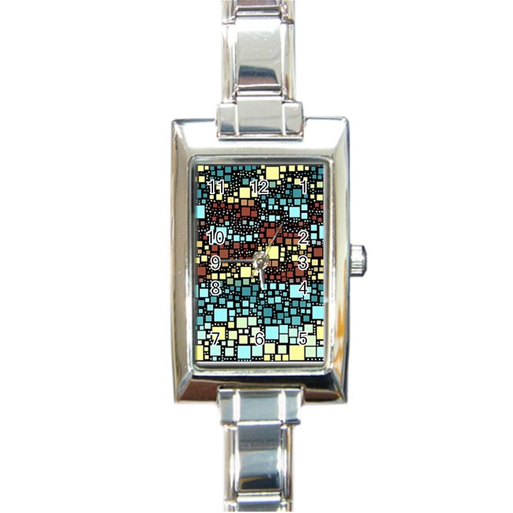Block On Block, Aqua Rectangle Italian Charm Watch
