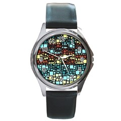Block On Block, Aqua Round Metal Watch