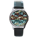 Block On Block, Aqua Round Metal Watch Front
