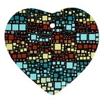 Block On Block, Aqua Ornament (Heart)  Front