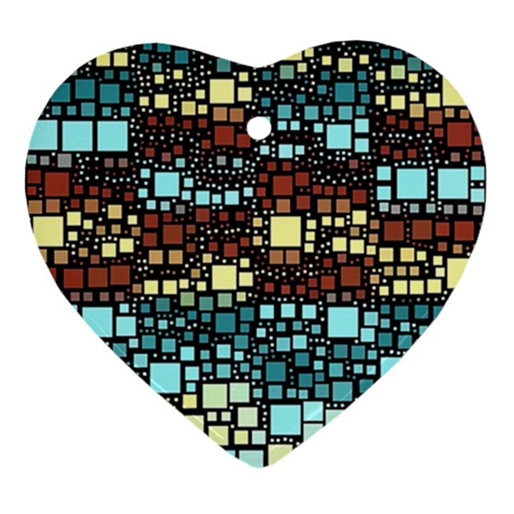 Block On Block, Aqua Ornament (Heart)