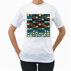 Block On Block, Aqua Women s T-Shirt (White) (Two Sided)