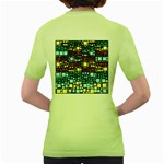 Block On Block, Aqua Women s Green T-Shirt Back