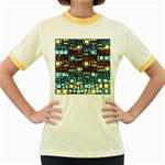 Block On Block, Aqua Women s Fitted Ringer T-Shirts Front