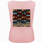 Block On Block, Aqua Women s Pink Tank Top Back