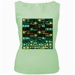 Block On Block, Aqua Women s Green Tank Top Front