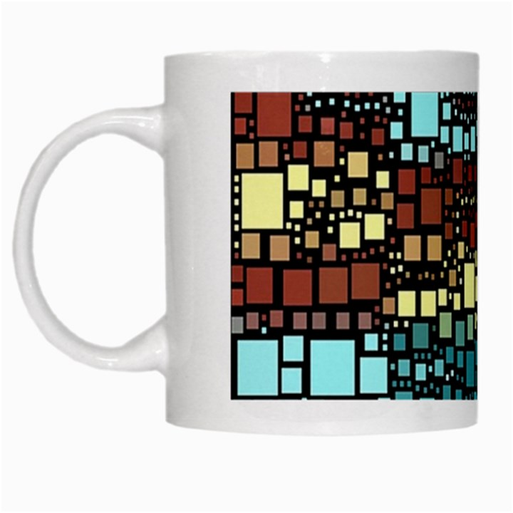 Block On Block, Aqua White Mugs