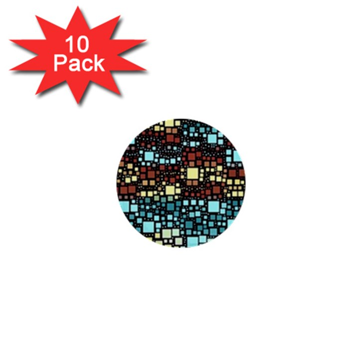 Block On Block, Aqua 1  Mini Buttons (10 pack)