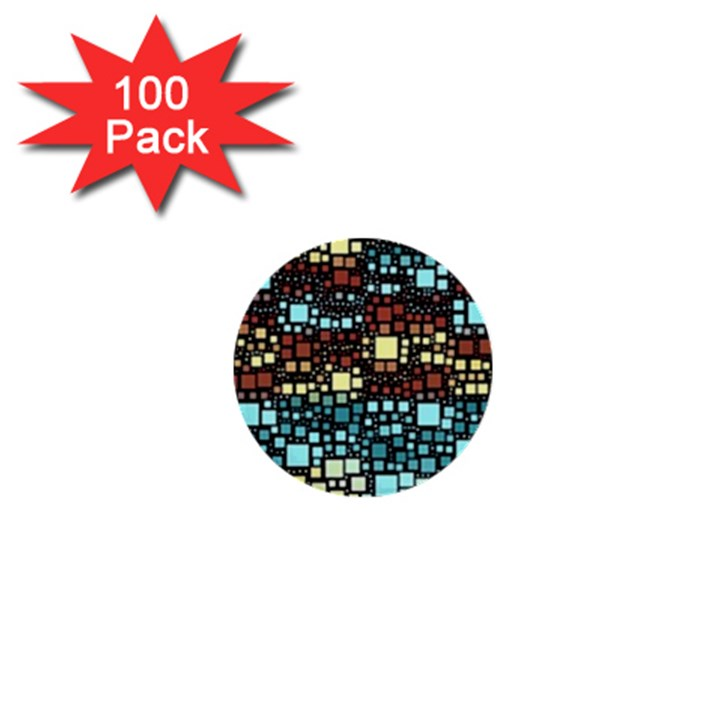 Block On Block, Aqua 1  Mini Buttons (100 pack)