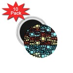 Block On Block, Aqua 1.75  Magnets (10 pack)  Front