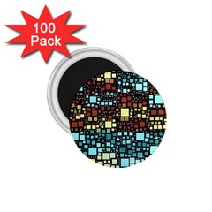 Block On Block, Aqua 1 75  Magnets (100 Pack)