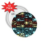 Block On Block, Aqua 2.25  Buttons (10 pack)  Front