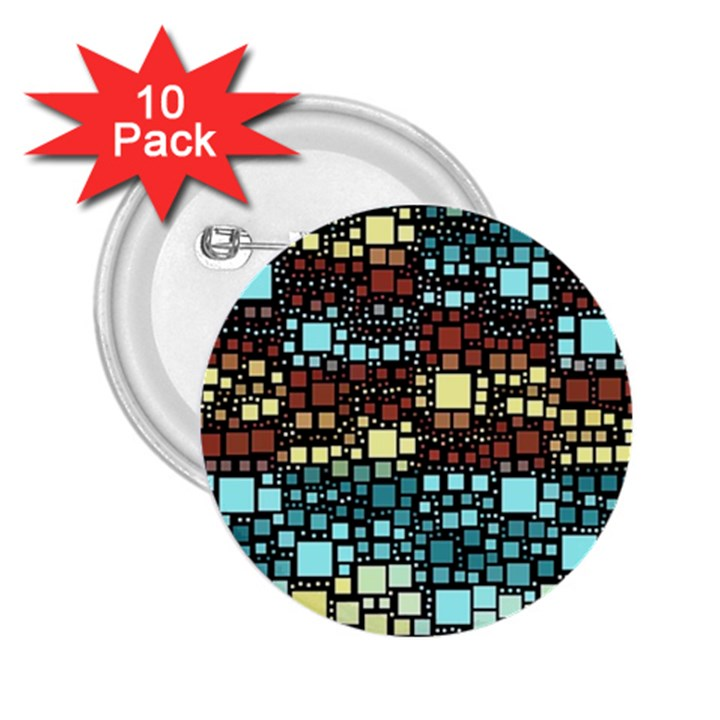 Block On Block, Aqua 2.25  Buttons (10 pack)