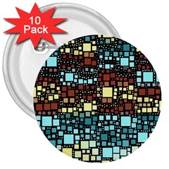 Block On Block, Aqua 3  Buttons (10 pack)