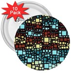 Block On Block, Aqua 3  Buttons (10 pack)  Front