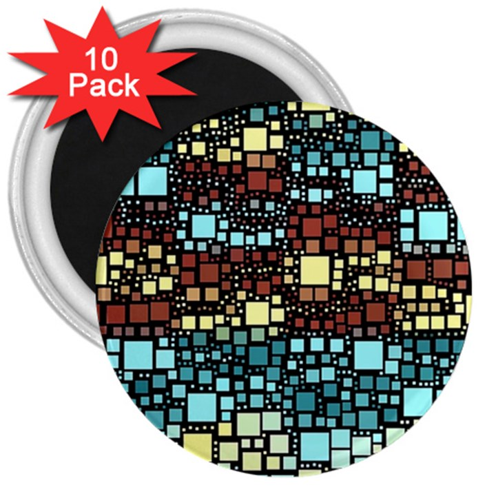 Block On Block, Aqua 3  Magnets (10 pack)