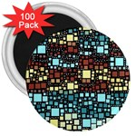 Block On Block, Aqua 3  Magnets (100 pack) Front