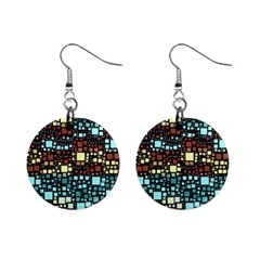 Block On Block, Aqua Mini Button Earrings