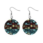 Block On Block, Aqua Mini Button Earrings Front