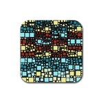 Block On Block, Aqua Rubber Square Coaster (4 pack)  Front