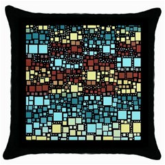 Block On Block, Aqua Throw Pillow Case (Black)