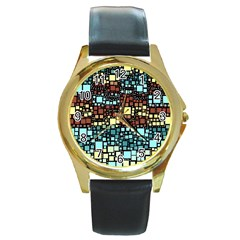 Block On Block, Aqua Round Gold Metal Watch