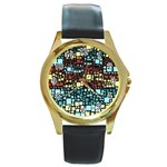 Block On Block, Aqua Round Gold Metal Watch Front