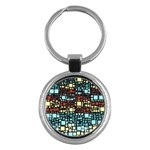 Block On Block, Aqua Key Chains (Round)  Front