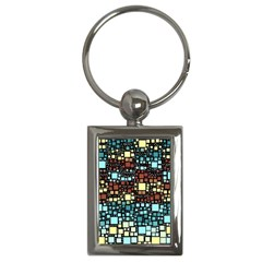 Block On Block, Aqua Key Chains (rectangle)