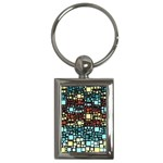 Block On Block, Aqua Key Chains (Rectangle)  Front