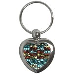 Block On Block, Aqua Key Chains (Heart)  Front