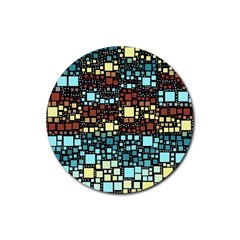 Block On Block, Aqua Rubber Round Coaster (4 Pack)