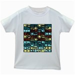 Block On Block, Aqua Kids White T-Shirts Front