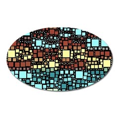 Block On Block, Aqua Oval Magnet