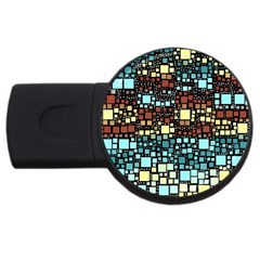 Block On Block, Aqua USB Flash Drive Round (2 GB)