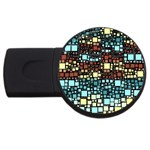 Block On Block, Aqua USB Flash Drive Round (2 GB)  Front