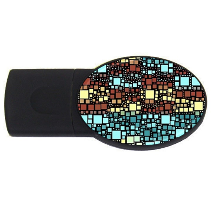 Block On Block, Aqua USB Flash Drive Oval (2 GB)
