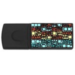 Block On Block, Aqua USB Flash Drive Rectangular (1 GB)  Front