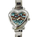 Block On Block, Aqua Heart Italian Charm Watch Front