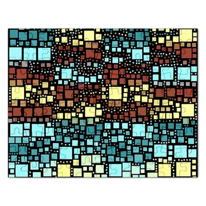 Block On Block, Aqua Rectangular Jigsaw Puzzl
