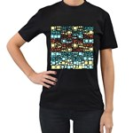 Block On Block, Aqua Women s T-Shirt (Black) (Two Sided) Front
