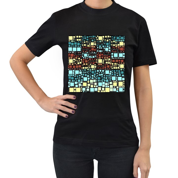 Block On Block, Aqua Women s T-Shirt (Black) (Two Sided)
