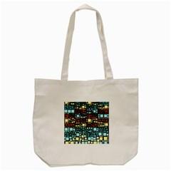 Block On Block, Aqua Tote Bag (Cream)