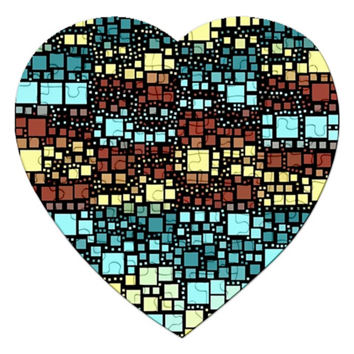 Block On Block, Aqua Jigsaw Puzzle (Heart)