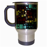 Block On Block, Aqua Travel Mug (Silver Gray) Left