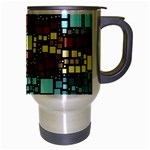 Block On Block, Aqua Travel Mug (Silver Gray) Right