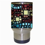 Block On Block, Aqua Travel Mugs (White) Center