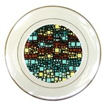Block On Block, Aqua Porcelain Plates Front