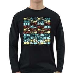 Block On Block, Aqua Long Sleeve Dark T Shirts