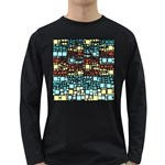 Block On Block, Aqua Long Sleeve Dark T-Shirts Front